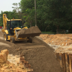 P10 – Pipeline 2500 Ø: Backfilling works with sand at CH808.29 – CH816.29 in progress.